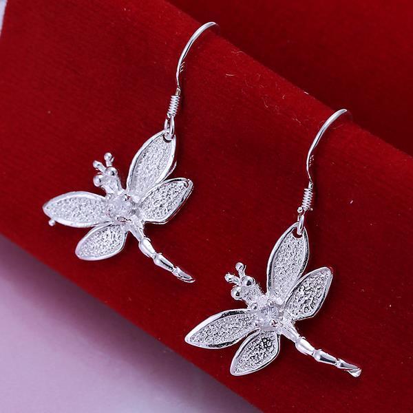 Venta al por mayor-Venta al por mayor de plata de ley 925 de insectos con incrustaciones de libélula forma gancho pendientes cuelga los anillos del oído colgante de joyería E009