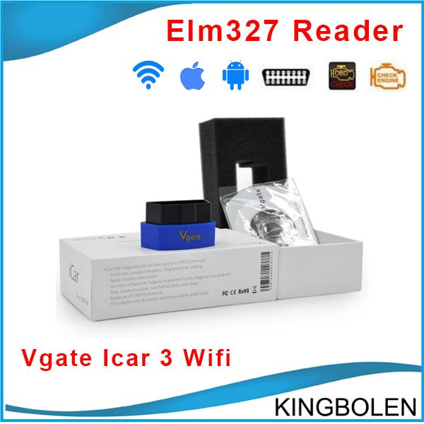 Wholesale Newest Vgate icar 3 wifi proffesional Car Diagnostic tool elm 327 OBDII OBD2 scanner tool ELM327 Wifi Free Shipping
