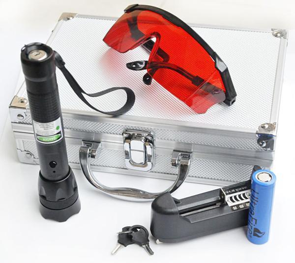 Высокое Качество 532nm Зеленая Лазерная Указка Pen Видимый луч + Аккумулятор + Зарядное Устройство STAR Cap Лазерная Указка Регулируемая