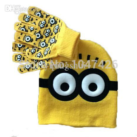 Wholesale-Free shipping 2 set Minions baby boys 2015 Children Dave cartoon winter knitted hat and gloves