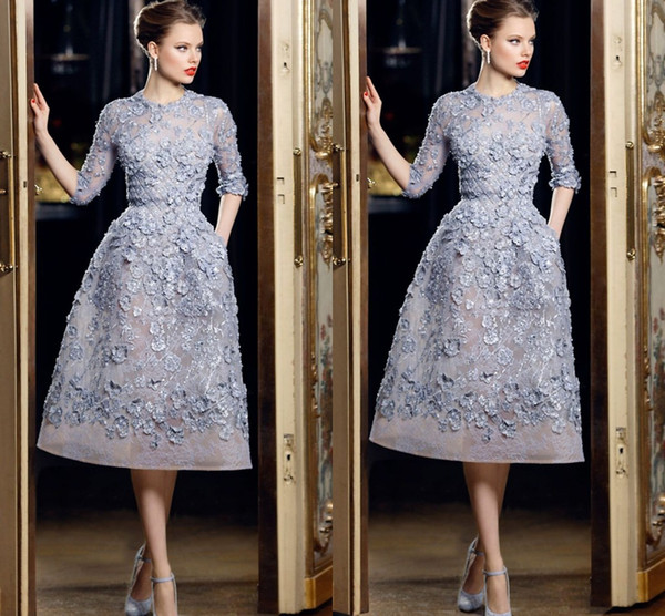 top popular Hot Sale Half Sleeve Short Party Dresses 3D Floral Appliques with Beading Pearls Party Dresses for Women Organza Ellie Saab Formal Dresses 2019