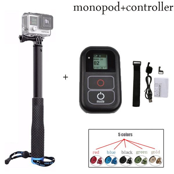 Freeshipping new kits For GoPro hero5 4 3 monopod tripod + wifi remote controller kit For GoPro HERO 5 4 3+ 3 sport camera accessories