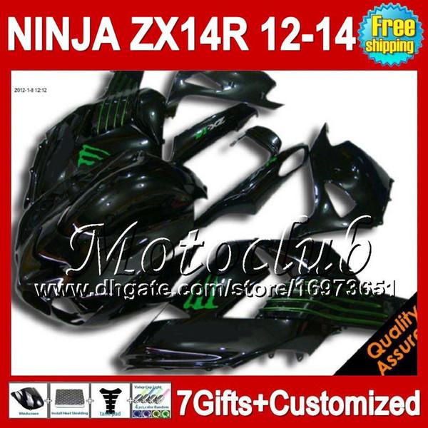 7diversos Para KAWASAKI NINJA ZX-14R 2012 2013 NUEVO Negro verde 2012 2013 ZX 14 R 25C66 ZX 14R 12-13 ZX14R Verde blk 12 13 12 13 ZX14 R Carenado