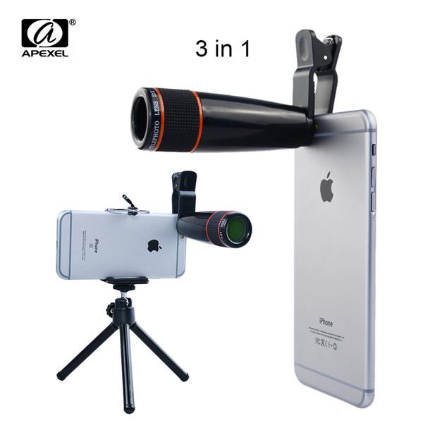 Universal 12X Zoom Clip Teleobjetivo Telescopio de enfoque manual Cámara con lente Tripad + Soporte para iPhone Samsung HTC 12X3in1 lente