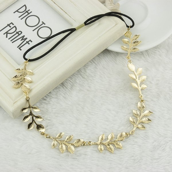 NEW retail 10pcs fashion hot style hair band lady gold Olive leaf headband head piece chain leaves golden elastic band head band