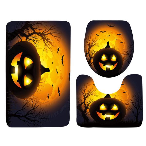 Halloween-Kürbis-Art-Badezimmer-Boden-Matte 3 PC-Satz, Anti-Rutsch-Matte für Badezimmer, Badezimmer-Teppich, Tür-Matte
