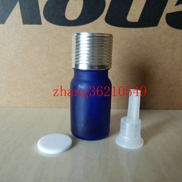 5ml blue frosted Glass Essential Oil Bottle With shiny silver aluminum cap. Oil vial, Essential Oil Container