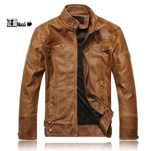 top popular free shipping 2015 spring new fashion men genuine leather jacket leather jacket men jacket 2019