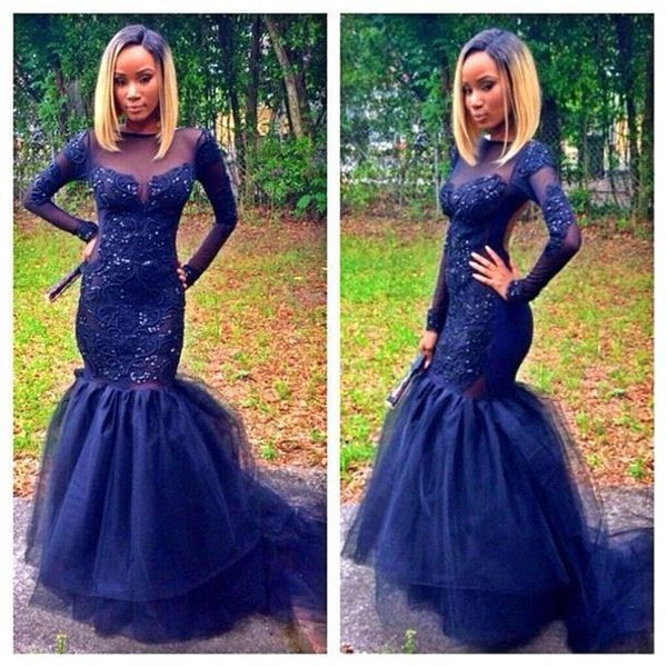 2016 Hot Evening Dresses Wear Sexy Bateau Illusion Neck Long Sleeves Navy Blue Lace Appliques Beads Mermaid Backless Party Dress Prom Gowns