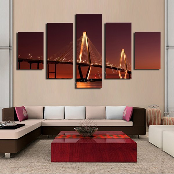 5 Panel Bridge Painting Home Wall Decor Canvas Picture Art HD Print Painting Modern Arts New Gift Living Room Decor Free Shipping
