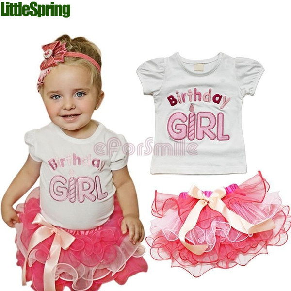 Little Birthday Girl Clothing Sets For Summer Embroidery Letter Pure Cotton Tshirt Tutu Cake Skirt 2pcs Baby Kids Suits 90-130 T577 Retail