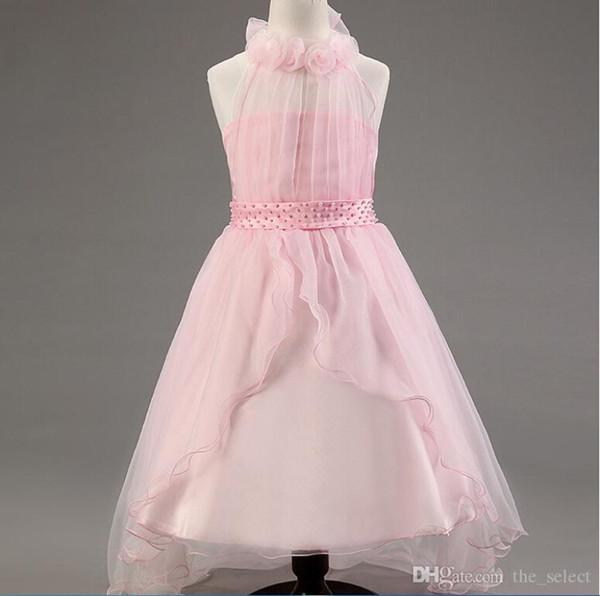 Blush vestidos de niña de las flores para bodas Nuevo invierno longitud de la cola larga vestido de niña de las flores de encaje de marfil 5 colores niñas vestidos de dama de honor
