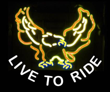 LIVE TO RIDE Neon Sign Real Glass Tube Bar Pub Store Business Advertising Home Decoration Art Gift Display Metal Frame Size 24''X20''