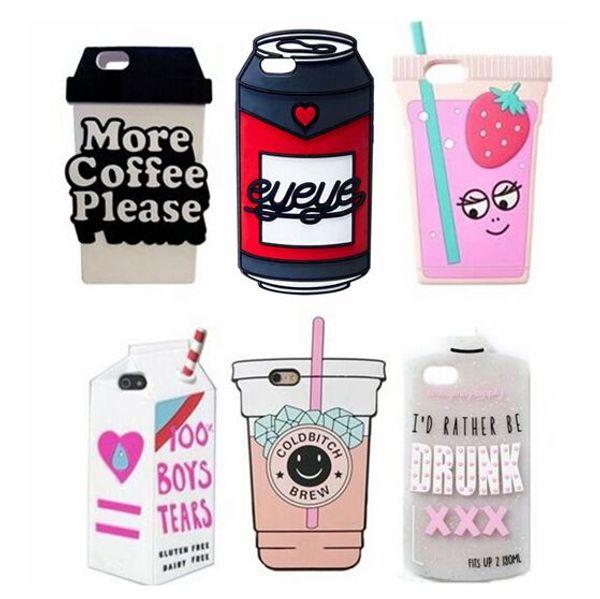 3d caixa de bebida caixa de telefone dos desenhos animados de cerveja pode embalar café água suculenta macio silicone iphone case para iphone x 8 6 6 s 7 plus 5 5S se 5c