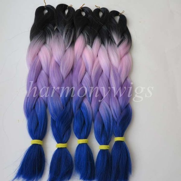 kanekalon jumbo braid hair 24inch 100g Black&Pink&Purple&Dark blue Ombre four tone Color Xpression Synthetic Braiding Hair Extensions