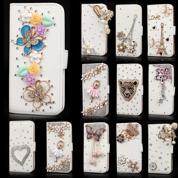 DIY Deluxe Crystal Bling Diamond Rhinestone Flip Wallet Leather Case Card Slots For iPhone 4 5 6 Plus Samsung Galaxy S4 S5 S6 Edge Note 3