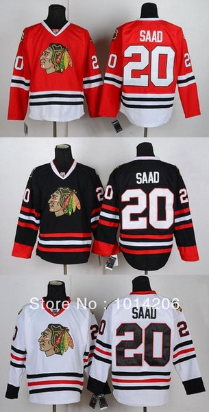 30 Teams-Wholesale Brandon Saad Jersey #20 Chicago Blackhawks Jerseys 3 Colors Red White Black Cheap Ice Hockey Jerseys Hockey Shirts