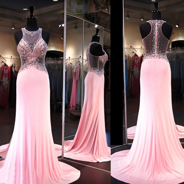 Pink Formfitting Mermaid Prom Dresses Beaded High Neck Illusion Back ...