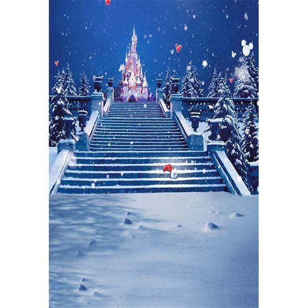 Fallende Schneeflocken-Winter-Schnee-Fotografie-Hintergrund-Nacht-blauer Himmel-weiße rote Ballon-Treppen-Schloss scherzt Kinderfoto-Studio-Hintergrund