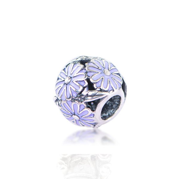 Sun Flower Purple Unique Shape Charm Bead Big Hole Fashion Women Jewelry European Style For DIY Bracelet Necklace