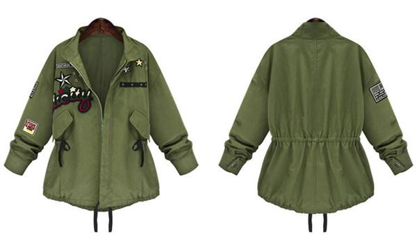 Der Artart Großhandel Damen Streetwear ArmeeNeue Jugendliche Europa Weise Frühlinges JackeGrüner Und Des Zusammenpassende Mantel 2016Einfache CtsQhdr