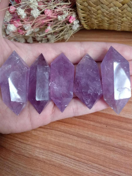 5pcs natural amethyst crystal points pretty Violet purple amethyst quartz double wand point healing FREE SHIPPING