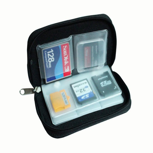 Wholesale- Azerin 1 PC Black 22 SDHC MMC CF Micro SD Memory Card Storage Carrying Zipper Pouch Case Protector Holder Wallet