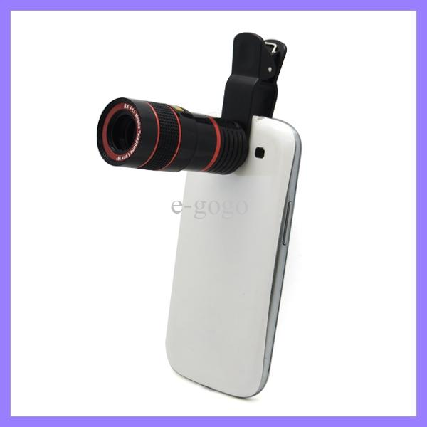 Universal 8X Zoom Mobile Phone Telescope Camera Optical Lens with Clip for Samsung iPhone iPad Nokia HTC Long Focal Lens