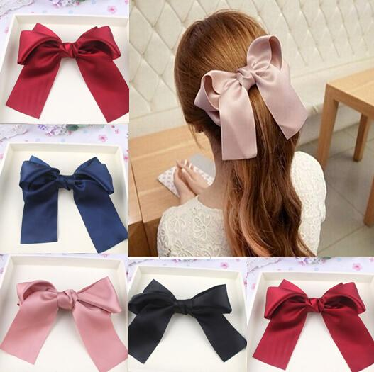 10%off Fashion Women Girls Lovely Large Big Satin Hair Bow Hair flowers clips Boutique Ribbon hair Accessories 10pcs/lot