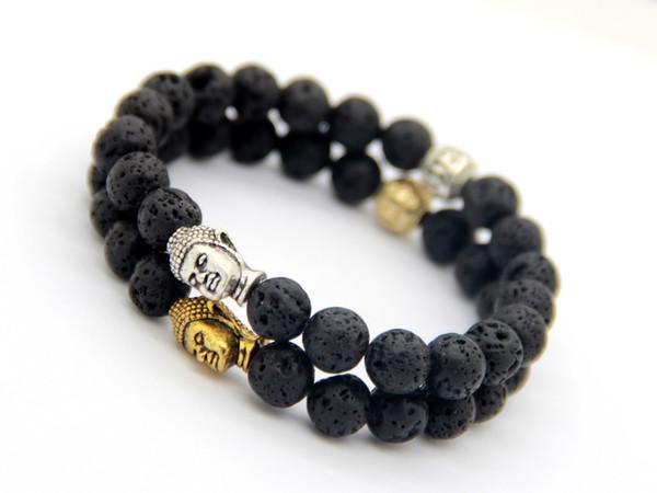Nouveau design énergie perles hommes pierre de lave, argent antique et bracelet en or de Bouddha, le meilleur prix, la meilleure vente bijoux cadeau