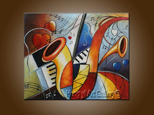 Hot Sell 100% Pure Hand Painted High Quality Modern Color Abstract Oil Painting Music Dance Canvas Living Room Wall Art Home Deco Amx03