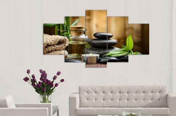 5 pieces wall art oil painting spa stone bamboo candels home decoration canvas prints pictures for living room F/517