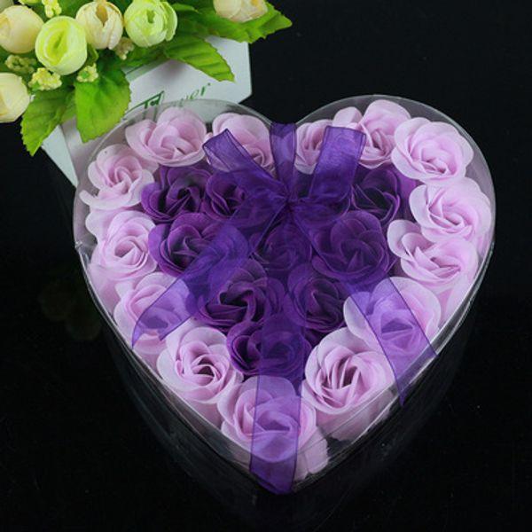 Envío gratis, flor de jabón mágico rosa patal, 24 piezas de flores en una caja de encaje, favor de boda, regalo de San Valentín, varios colores