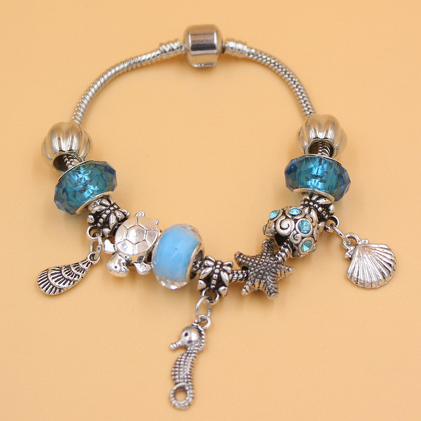 New Arrival Jewelry Wholesale DIY Ocean Beach Style Starfish conch Seashell Seahorse Charm Bracelet for Christmas Gift Jewelry