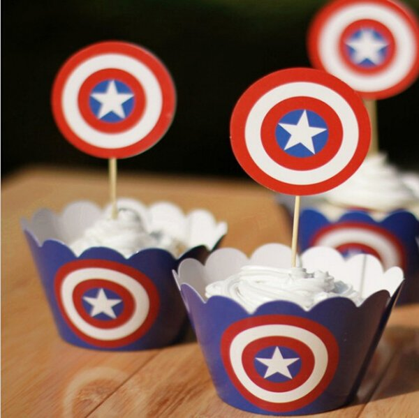 Captain America Paper Cupcake Wrappers Decorating Boxes Baking Cake Cups With Toppers Picks For Kids Xmas Birthday Party Supplies