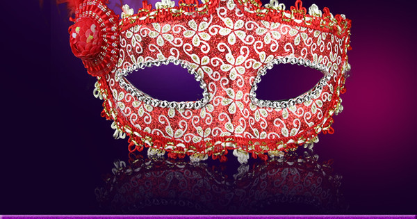 Halloween Venetian masquerade feather masks painted luminous beauty mask party mask party princess