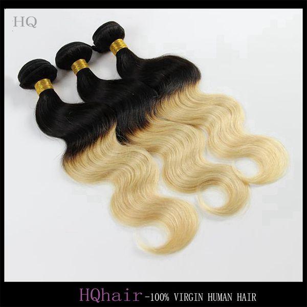 6A Hint Sarışın Saç Demetleri 1B / 613 Ombre İnsan Saç Uzantıları Vücut Dalga Iki Ton İnsan Saç 3 Adet / grup Ücretsiz Kargo HQhair