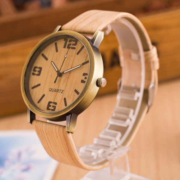 2015 simple style Wood grain leather quartz watch wome dress wristwatches men casual watch Free Shipping