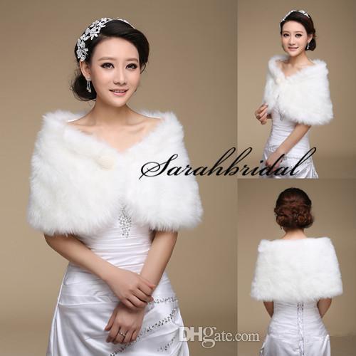 New White Pearl Bridal Wrap Shawl Coat Jackets Boleros Shrugs Regular Faux Fur Stole Capes For Wedding Party 17004 Free Shipping