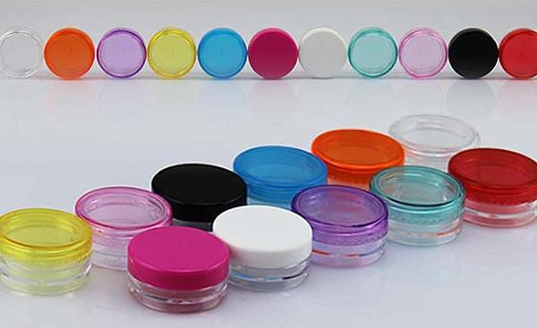 Ücretsiz kargo - 100 x 3g renkli krem kavanoz, kozmetik konteyner, plastik şişe, makyaj örneği kavanoz, kozmetik ambalaj