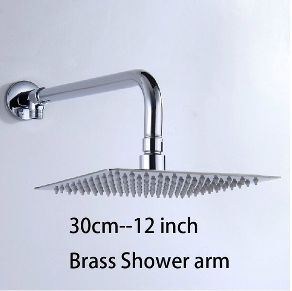 top popular Free Shipping! 12 inch perfect new square bathroom stainless steel rainfall Chrome Brass shower head&hose 2021