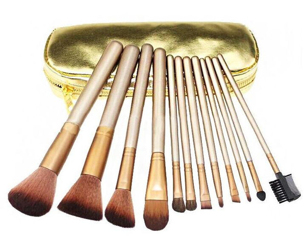 2015 HOT NEW Nude Makeup Brushes Nude 12 piece Professional Brush sets Gold package
