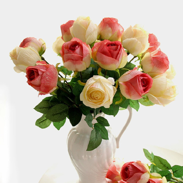California Artificial Rose Silk Craft Flowers Real Touch Flowers For Wedding Christmas Room Decoration6 Color Cheap Sale