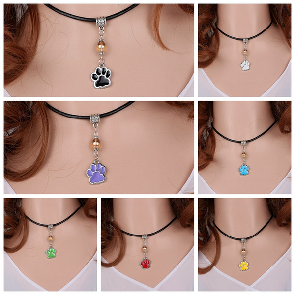 Enamel Dog Paw Prints Mixed Color Charm Vintage Silver Choker Leather Collar Necklaces&Pendants For Women Dress DIY Jewelry S326