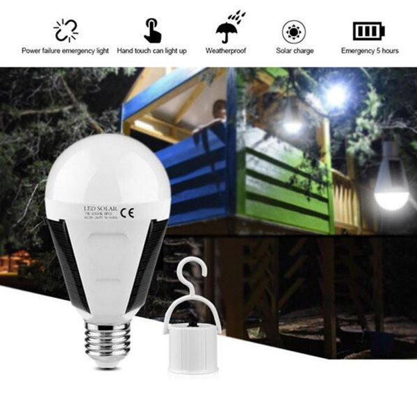 top popular Portable E27 LED Solar lamp 12W 85V-265V Rechargeable Lighting Waterproof outdoor Power Bulb light For Camping Hiking Fishing 2019