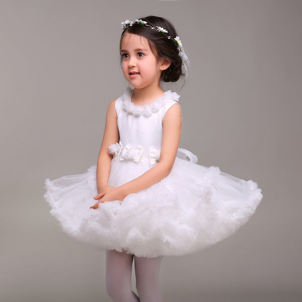 White Cute Flower Girl Wedding Dress Bowknot Sash Mini First Communion Dresses for Girls Birthday Party Dress 2016 New Kids Formal Wear