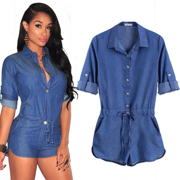 Jeans Jumpsuit Romper Good Quality Fashion Women Short Bodycon Denim Jumpsuits Summer Style V Neck Long Sleeve Sexy Club Wear Jumpsuits