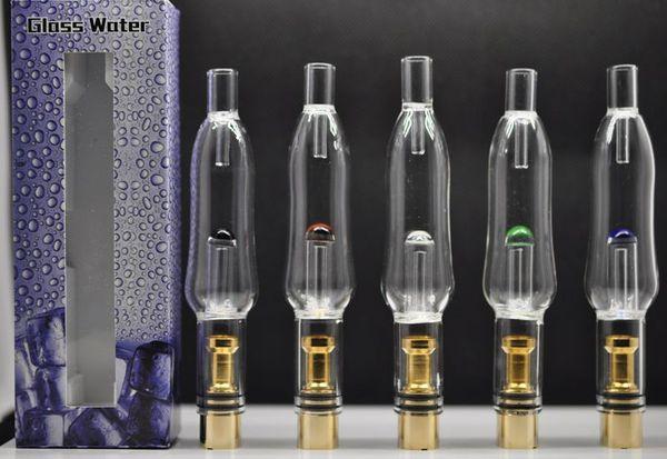 2016 Glass Water Aqua Bubbler Gold Atomizer hookah shisha bong Tank 510 Thread Atomizer Vaporizer Pen Dry Herb Wax