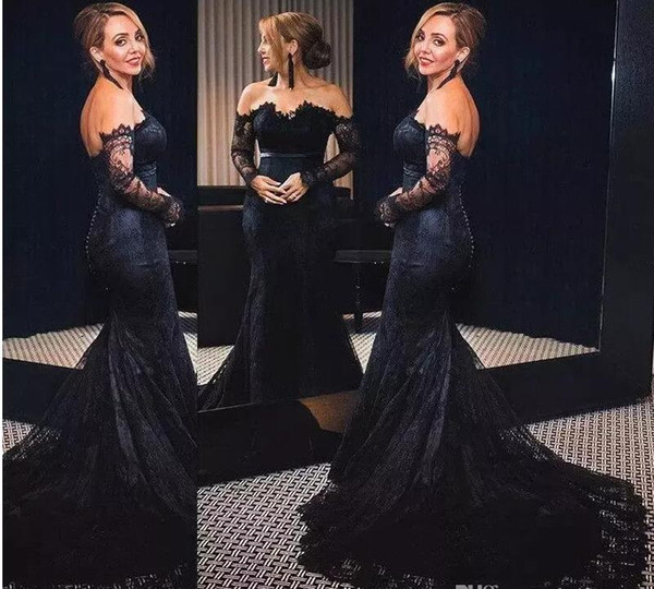 Vintage Prom Dresses Black Full Lace Formal Evening Gown With Long Sleeves Off Shoulder Sweep Train Special Fashion Dresses Prom Dress On Sale Prom