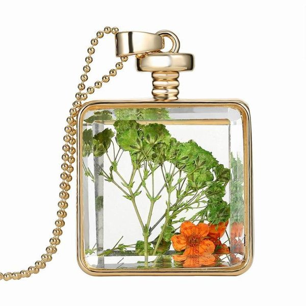 creative floating frame locket charm necklace gold plated transparent crystal glass square pendant necklaces fashion diy